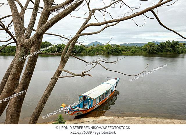 Dragon boat on the Perfume River. Hue, Vietnam