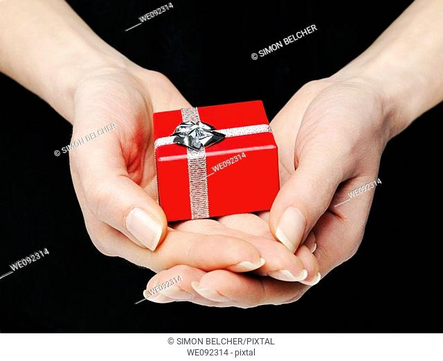 Hands Holding a Red Gift Box