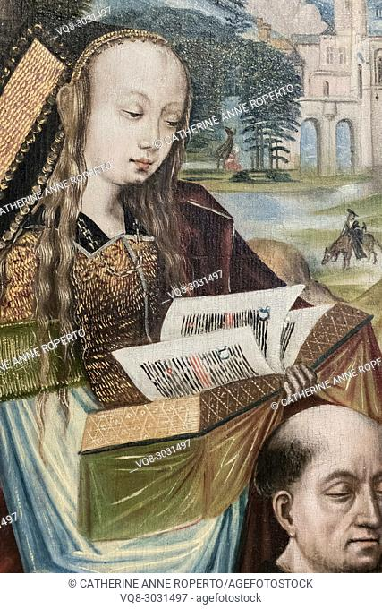 Sumptuously dressed medieval lady with long golden tresses, reads the illuminated pages of a golden book above the head of a bald monk in a painting from the...
