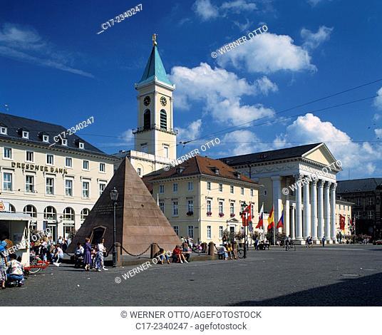 Germany. Karlsruhe, Rhine, Upper Rhine, Northern Black Forest, Black Forest, Baden-Wuerttemberg, market place, Karlsruhe Pyramid by Friedrich Weinbrenner