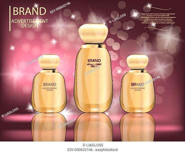 Glamorous foundation glass bottles Isolated on white background. Mock-up 3D Realistic Vector illustration for design, template