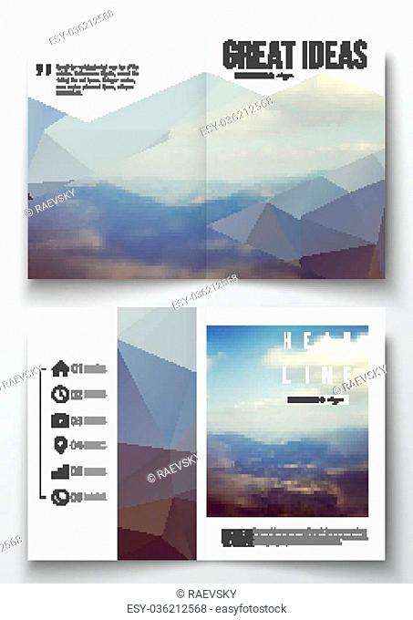 Set of business templates for brochure, magazine, flyer, booklet or annual report. Abstract colorful polygonal backdrop, blurred background, mountain landscape