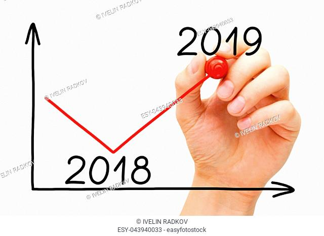 Hand drawing business recovery graph for year 2019 with marker on transparent wipe board isolated on white
