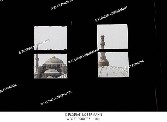Turkey, Istanbul, view to Blue Mosque through window