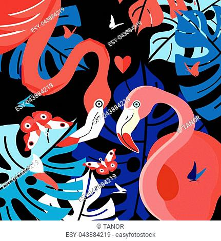 Festive card with red flamingos for Valentine's Day