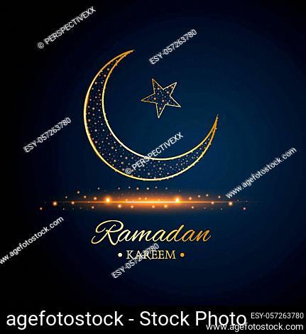 Golden Islamic moon and star, ramadan kareem written with black and dark blue background, vector, illustration, eps file