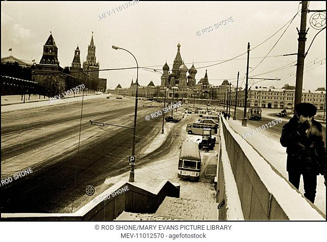 Photograph takin in the vicinty of Red Square, Moscow, USSR. Featuring views of St. Basil's and The Kremlin