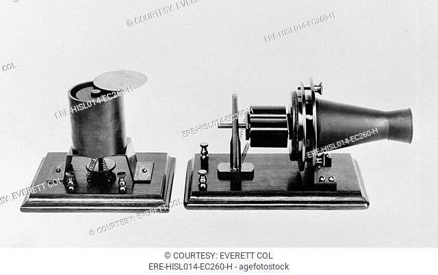 The first telephone developed and patented by Alexander Graham Bell in 1876. Replicas of the magnetic transmitter and receiver were exhibited at the...