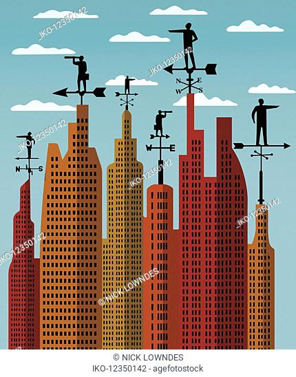 Businessmen on weather vanes forecasting future business direction