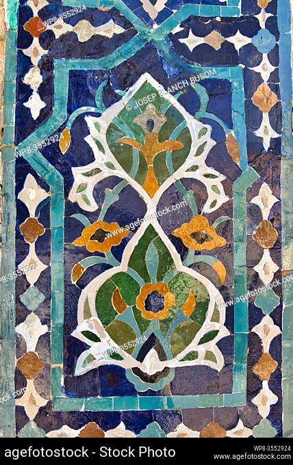 Uzbekistan, Samarkand province, Samarkand, mosaic on the facade