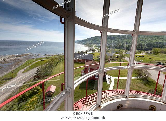 View of the grounds from the top of La Martre lighthouse on the Gaspe Peninsula, Quebec, Canada