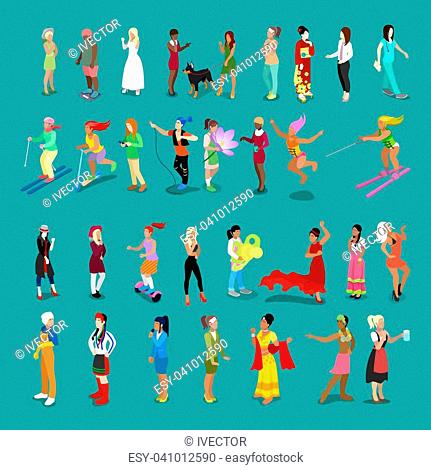 Isometric People Women Set. Female Characters in different Poses and Professions. Vector flat 3d illustration
