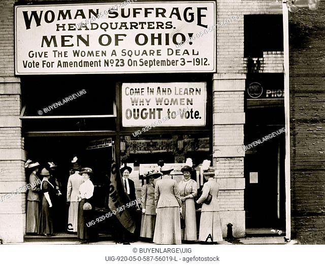 Woman suffrage headquarters in Upper Euclid Avenue, Cleveland--A. at extreme right is Miss Belle Sherwin, President, National League of Women Voters, B