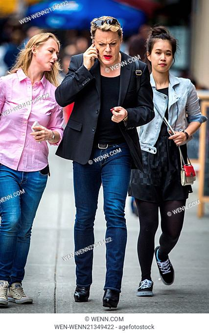 Eddie Izzard went on a subway in New York wearing high heels and patriotic manicure featuring both British and european flags