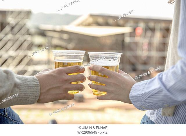 Young couple with beer