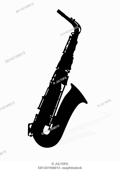 Illustration of saxophone with shadow