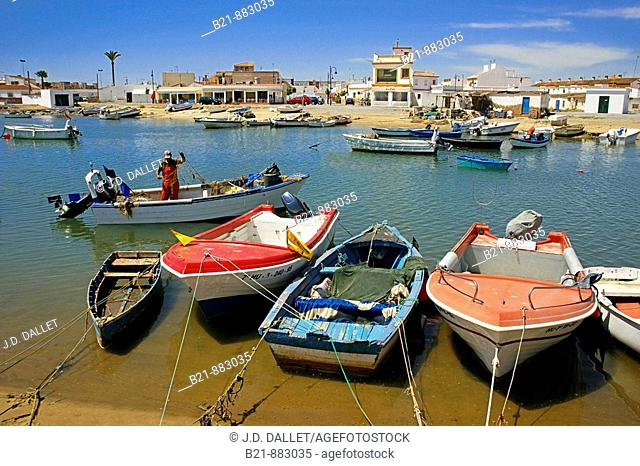 Fishing harbour at Punta del Moral on Isla Canela, Ayamonte, Huelva province, Andalusia, Spain