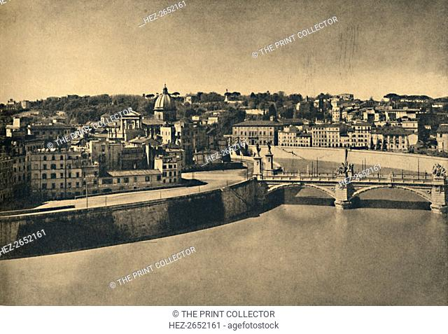 'Roma - View of the new bridge of Victor Emmanuel', 1910. Ponte Vittorio Emanuele II is a bridge in Rome constructed to designs of 1886 by the architect Ennio...