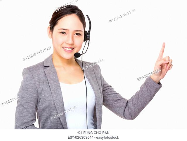 Telemarketing operator and finger point up