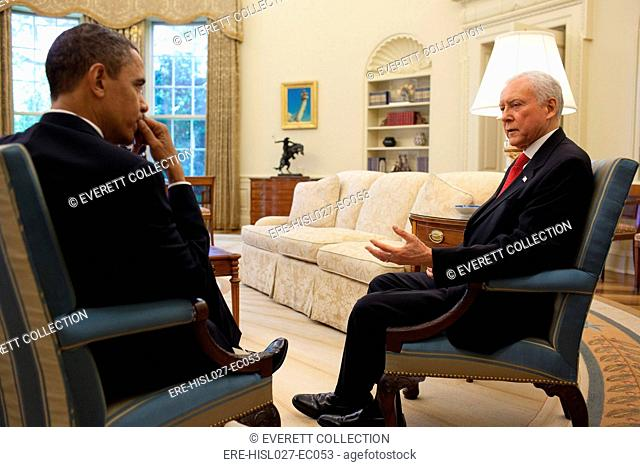 President Barack Obama meets with Senator Orrin Hatch in the Oval Office. May 5 2010. BSWH-2011-8-343