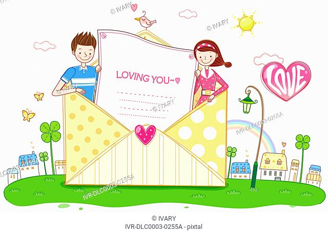 Couple Inside The Envelope With Love Message
