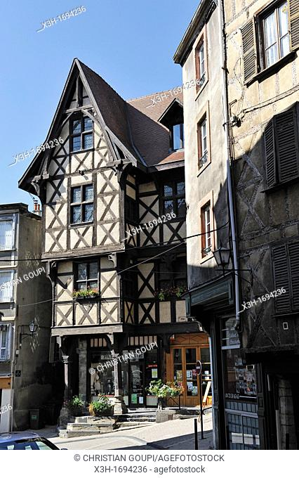 the Pirou half-timbered medieval house, Thiers, Livradois-Forez Regional Nature Park, Puy-de Dome department, Auvergne region, France, Europe