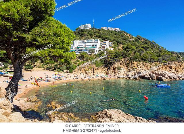 Spain, Catalonia, Costa Brava, Girona province, comarca of La Selva, area of Tossa de Mar, creek Salions