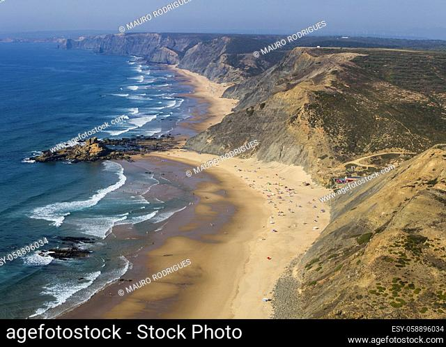 Wide view of the beautiful coastline area of Sagres, Portugal