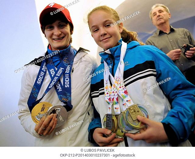 Czech olympic speedskating gold and silver medalist Martina Sablikova (left) pictured with Czech Youth Olympic Games winner
