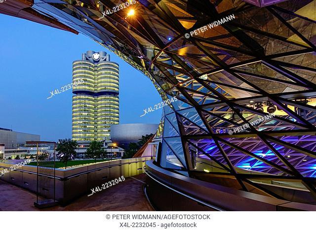 "BMW Welt and Headquarters """"BMW four-cylinder"""", Munich, Bavaria, Germany, Europe"