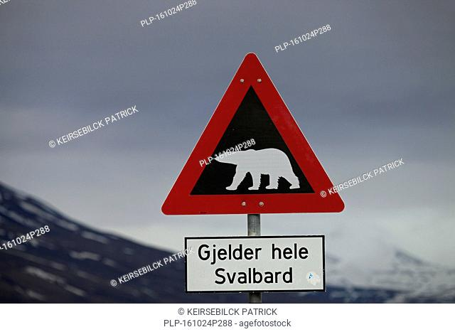Polar bear warning sign, Longyearbyen, Spitsbergen / Svalbard