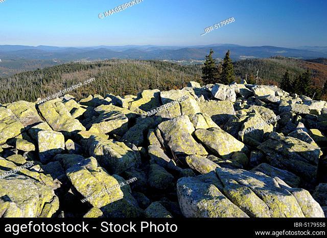 Lusen, 1373 meters, sea of granite blocks on the summit, evening, October, Bavarian Forest National Park, Bavaria, Germany, Europe