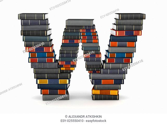 Letter W, stacked from many encyclopedy books in pile