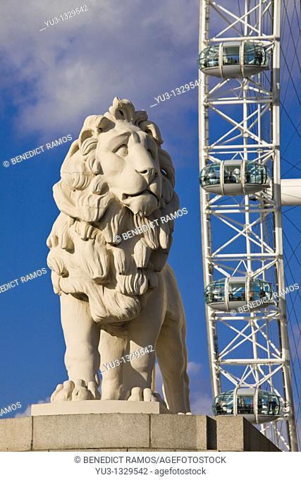 South Bank Lion and London Eye, London, England, UK