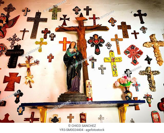 Crosses decorate a restaurant in Guanajuato, Mexico