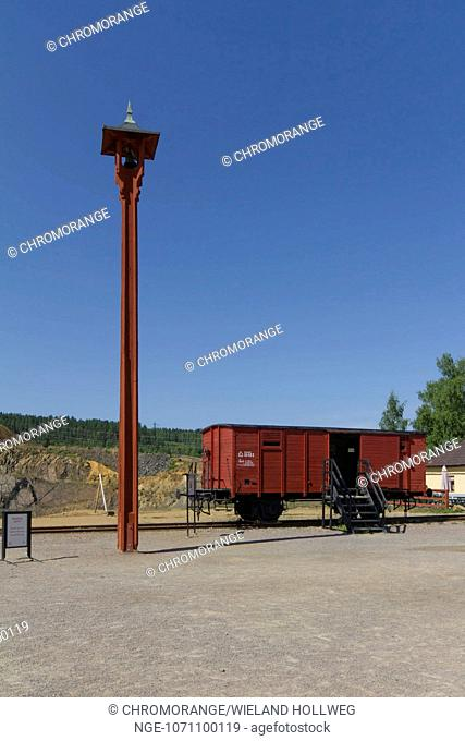 Meeting place for groups of visitors to the historic copper mine in Falun Falu gruva