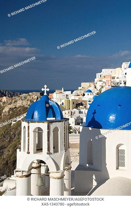 Greek Othodox Church with bell tower, Oia, Santorini, Greece