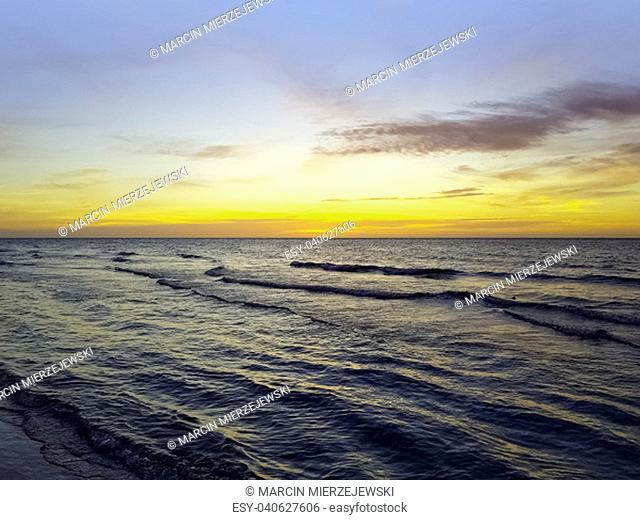 Dramatic sunset over Cuban beach