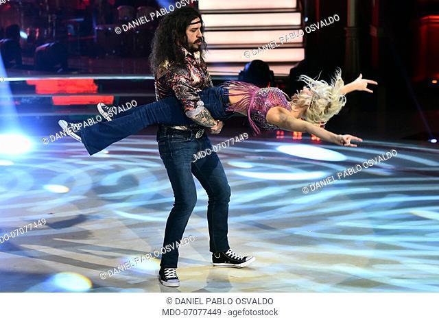 Former Argentinian footballer Daniel Pablo Osvaldo with his dance teacher Veera Kinnunen during the fourth episode of the show Ballando Con Le Stelle auditorium...