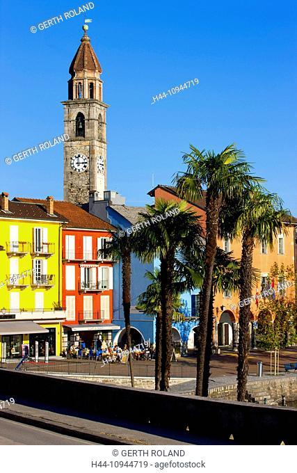 Ascona, Switzerland, Europe, canton, Ticino, Lago Maggiore, houses, homes, church, palms