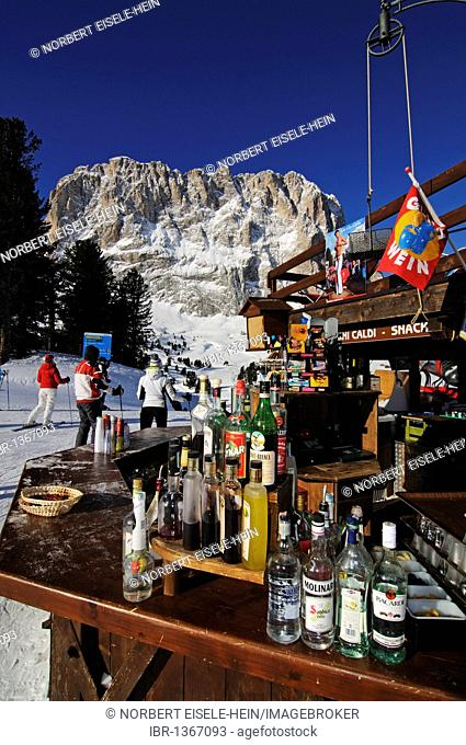 Ski piste at Santa Cristina, Selva, Langkofel mountain, Sella Ronda, Val Gardena, South Tyrol, Italy, Europe