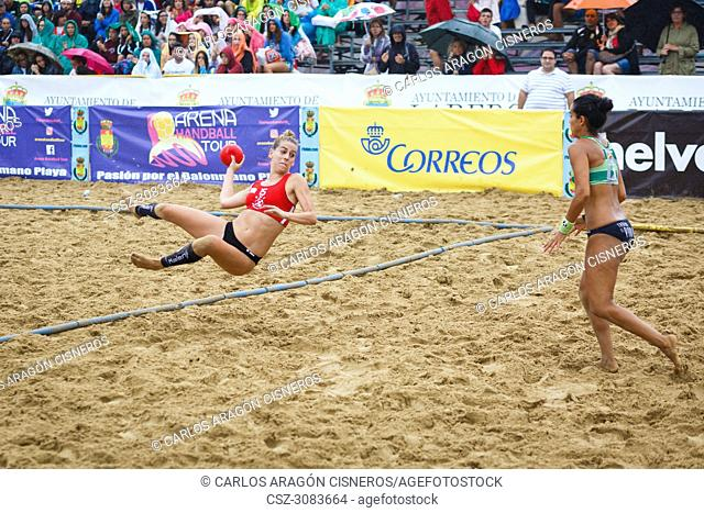 LAREDO, SPAIN - JULY 31: Unidentified girl, Deporte y Empresa Clinicas Rincon, player launches to goal in the Spain handball Championship celebrated in Laredo...