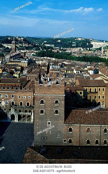 View of Verona with from the Lamberti tower with Piazza dei Signori in the foreground, Verona (UNESCO World Heritage List, 2000), Veneto, Italy