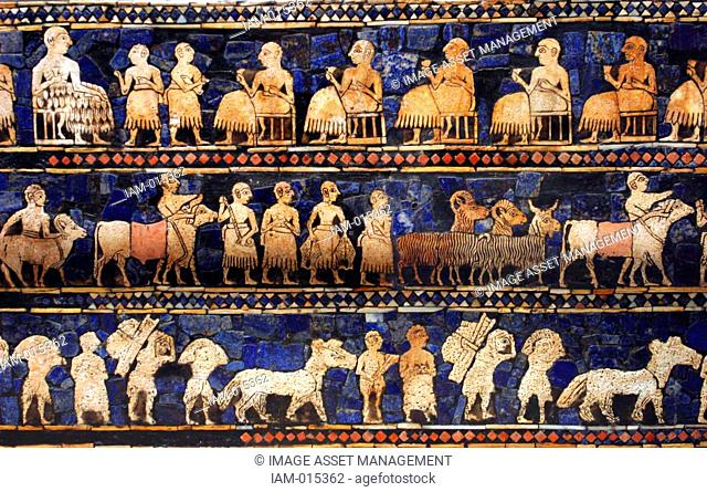The Peace frieze from the Standard of Ur. Sumerian artefact excavated from the Royal Cemetery in Ur located in modern-day Iraq