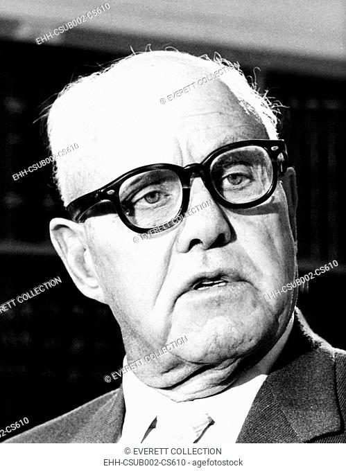 AFL-CIO president George Meany before the Senate Appropriations Committee. March 10, 1971. Meany wanted the U.S. to build a super sonic transport (SST) to help...