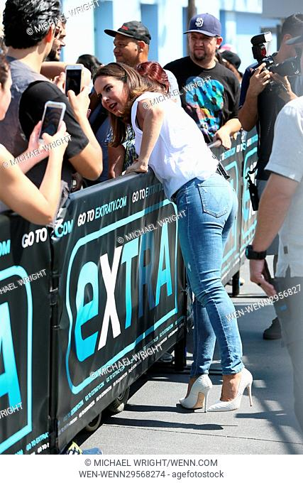Kate Del Castillo seen at Universal studios where she was interviewed by Mario Lopez for television show Extra Featuring: Kate Del Castillo Where: Los Angeles