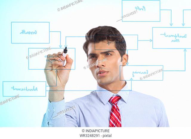 Businessman drawing a flowchart