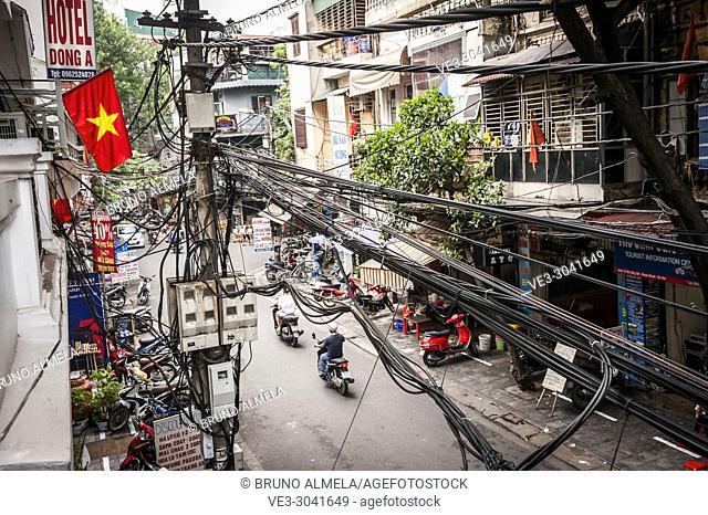 Electric pole in Hanoi, Vietnam
