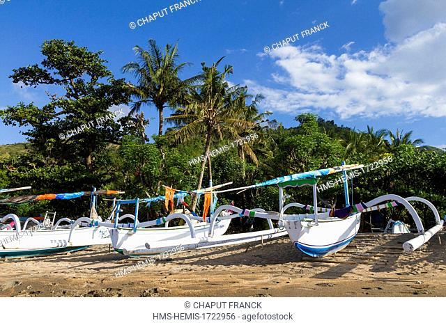 Indonesia, Bali, Amed, Lean beach, traditional fishing boats