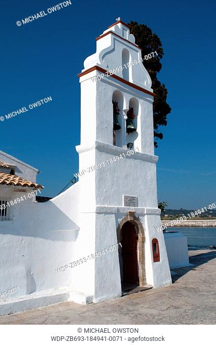 belltower Monastery of Panagia Vlahernon on Vlacherna Island off the Kanoni Peninsular Corfu Greece
